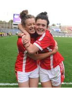 27 September 2015; Cork players Maire O'Callaghan, left, and Doireann O'Sullivan celebrate after the game. TG4 Ladies Football All-Ireland Senior Championship Final, Croke Park, Dublin. Picture credit: Dáire Brennan / SPORTSFILE