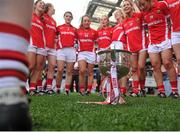 27 September 2015; The Cork players celebrate around the Brendan Martin cup after the game. TG4 Ladies Football All-Ireland Senior Championship Final, Croke Park, Dublin. Picture credit: Dáire Brennan / SPORTSFILE