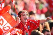 27 September 2015; A Cork supporter during the game. TG4 Ladies Football All-Ireland Senior Championship Final, Croke Park, Dublin. Picture credit: Ramsey Cardy / SPORTSFILE