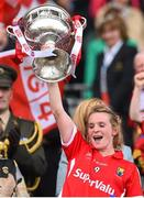 27 September 2015; Briege Corkery, Cork, lifts the Brendan Martin cup. TG4 Ladies Football All-Ireland Senior Championship Final, Croke Park, Dublin. Picture credit: Ramsey Cardy / SPORTSFILE