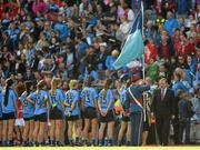 27 September 2015; An Taoiseach Enda Kenny greets the Dublin team ahead of the game. TG4 Ladies Football All-Ireland Senior Championship Final, Croke Park, Dublin. Picture credit: Ramsey Cardy / SPORTSFILE