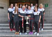 28 September 2015; Cork team manager Eamonn Ryan with members of the team during a visit by the TG4 Ladies Football All-Ireland Senior Champions to  Crumlin Children's Hospital, Crumlin, Dublin. Picture credit: Matt Browne / SPORTSFILE