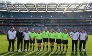 27 September 2015; Referee John Niland and his officials. TG4 Ladies Football All-Ireland Senior Championship Final, Croke Park, Dublin. Picture credit: Ramsey Cardy / SPORTSFILE