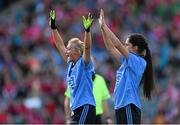 27 September 2015; Dublin's Carla Rowe, left, and Molly Lamb, attempt to block a free. TG4 Ladies Football All-Ireland Senior Championship Final, Croke Park, Dublin. Picture credit: Ramsey Cardy / SPORTSFILE