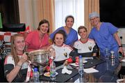 28 September 2015; Cork ladies footballers, from left, Kate Leneghan,  Laura Crowley and Valerie Mulcahy with Norma O'Keefe, Dr Eimear Shields, sister of Cork senior footballer Michael Shields, and Dr Kay O'Brien during a visit by the TG4 Ladies Football All-Ireland Senior Champions to Temple Street Hospital, Temple Street, Dublin. Picture credit: Sam Barnes / SPORTSFILE