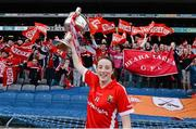 27 September 2015; Cork's Aine O'Sullivan with the Brendan Martin cup. TG4 Ladies Football All-Ireland Senior Championship Final, Croke Park, Dublin. Picture credit: Ramsey Cardy / SPORTSFILE