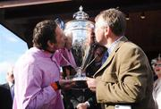 1 May 2009; Davy Russell and trainer Charles Byrnes after winning the Rabobank Champion Hurdle with Solwhit. 2009 Punchestown Irish National Hunt Festival, Punchestown Racecourse, Co. Kildare. Picture credit: Matt Browne / SPORTSFILE