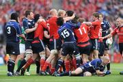 2 May 2009; Munster and Leinster players tussle off the ball. Heineken Cup Semi-Final, Munster v Leinster, Croke Park, Dublin. Picture credit: Stephen McCarthy / SPORTSFILE