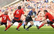 2 May 2009; Felipe Contepomi, Leinster, in action against, from left, Peter Stringer, Alan Quinlan and Marcus Horan, Munster. Heineken Cup Semi-Final, Munster v Leinster, Croke Park, Dublin. Picture credit: Pat Murphy / SPORTSFILE