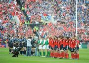 2 May 2009; The teams line up before the game for a minutes silence. Heineken Cup Semi-Final, Munster v Leinster, Croke Park, Dublin. Picture credit: Pat Murphy / SPORTSFILE