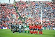 2 May 2009; The teams stand for a minute silence before the game. Heineken Cup Semi-Final, Munster v Leinster, Croke Park, Dublin. Picture credit: Pat Murphy / SPORTSFILE