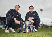 1 May 2009; Crumlin Utd. will take on Bluebell Utd. in the FAI Umbro Intermediate Challenge Cup Final which takes place at the Tallaght Stadium on Sunday May 10th with kick off at 3 o'clock. At a photocall ahead of the final are team captains Derek Griffin, Crumlin Utd., left, and John Cleary, Bluebell Utd. Tallaght Stadium, Tallaght, Dublin. Picture credit: Brian Lawless / SPORTSFILE