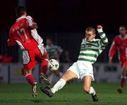 17 December 2000; Shane Robinson, Shamrock Rovers is tackled by Ger McCarthy, 17, St Patricks Athletic.. eircom League Premier Division, St Patrick's Athletic v Shamrock Rovers, Richmond Park, Dublin. Soccer. Picture credit; Ray McManus/SPORTSFILE