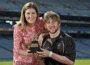 10 June 2013; Laois hurler Cahir Healy is presented with his GAA / GPA Player of the Month Award, sponsored by Opel, for May, by Laura Condron, Senior Brand and PR Manager Opel Ireland. Croke Park, Dublin. Picture credit: Barry Cregg / SPORTSFILE