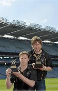 10 June 2013; London footballer Mark Gottsche, left, and Laois hurler Cahir Healy who were presented with their GAA / GPA Player of the Month Award, sponsored by Opel, for May. Croke Park, Dublin. Picture credit: Barry Cregg / SPORTSFILE
