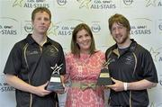 10 June 2013; Laois hurler Cahir Healy, right, and London footballer Mark Gottsche are presented with their GAA / GPA Player of the Month Award, sponsored by Opel, for May, by Laura Condron, Senior Brand and PR Manager Opel Ireland. Croke Park, Dublin. Picture credit: Barry Cregg / SPORTSFILE