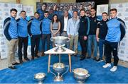 1 October 2015; Dublin players, from left, Bernard Brogan, Darren Daly, Kevin McManamon, Paddy Andrews, Paul Flynn, James McCarthy, Davy Byrne and John Small accompanied by Hillary Browne, AIG Head of Casualty, EMEA, Declan O'Rourke, General Manager, AIG Ireland, and John Gillick, Marketing and Sponsorship Manager, AIG Ireland, were at AIG Insurance's offices in Dublin today for a reception to mark their GAA Football All-Ireland Championship success. AIG, North Wall Quay, Dublin. Picture credit: Stephen McCarthy / SPORTSFILE