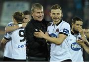 2 October 2015; Dundalk manager Stephen Kenny celebrates with Andy Boyle at the end of the game. Irish Daily Mail FAI Cup, Semi-Final, Dundalk v Longford Town, Oriel Park, Dundalk, Co. Louth. Picture credit: David Maher / SPORTSFILE