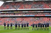 2 May 2009; The Leinster team stand for a minute silence in memory of the late Dr. Karl Mullen. Heineken Cup Semi-Final, Munster v Leinster, Croke Park, Dublin. Picture credit: Brendan Moran / SPORTSFILE
