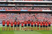 2 May 2009; The Munster team stand for a minute silence in memory of the late Dr. Karl Mullen. Heineken Cup Semi-Final, Munster v Leinster, Croke Park, Dublin. Picture credit: Brendan Moran / SPORTSFILE