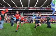 2 May 2009; The Munster and Leinster teams make their way onto the pitch before the start of the game. Heineken Cup Semi-Final, Munster v Leinster, Croke Park, Dublin. Picture credit: Brendan Moran / SPORTSFILE