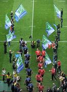 2 May 2009; The Leinster and Munster teams make their way onto the pitch before the start of the game. Heineken Cup Semi-Final, Munster v Leinster, Croke Park, Dublin. Picture credit: Ray McManus / SPORTSFILE