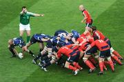 2 May 2009; Leinster scrum-half Chris Whitaker takes the ball out of a scrum, watched by referee Nigel Owens. Heineken Cup Semi-Final, Munster v Leinster, Croke Park, Dublin. Picture credit: Ray McManus / SPORTSFILE