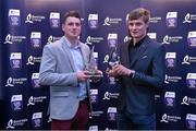 3 October 2015; Wexford's Liam Ryan and team-mate Jack O'Connor with their team of the year awards during the Bord Gáis Energy U21 Team of the Year 2015. The Marker Hotel, Dublin. Picture credit: Matt Browne / SPORTSFILE