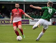4 October 2015; Liam Miller, Cork City, in action against Ryan McEvoy, Bray Wanderers. Irish Daily Mail FAI Cup, Semi-Final, Bray Wanderers v Cork City, Carlisle Grounds, Bray, Co. Wicklow. Picture credit: David Maher / SPORTSFILE
