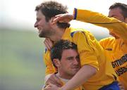 10 May 2009; Peter Sherlock, centre, Bluebell United FC, celebrates after scoring his side's first goal with team-mate Ciaran Quinn, left and Alan O'Duffy. FAI Umbro Intermediate Cup Final, Crumlin United FC v Bluebell United FC, Tallaght Stadium, Dublin. Picture credit: David Maher / SPORTSFILE