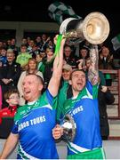 4 October 2015; St Patrick's team captains Karl White, left, and Paddy Keenan, right, lift the Joe Ward Cup following their team's victory over Sean O'Mahony's. Louth County Senior Football Championship Final, Sean O'Mahony's v St Patrick's, Gaelic Grounds, Drogheda, Co. Louth. Picture credit: Seb Daly / SPORTSFILE