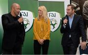 8 October 2015; Republic of Ireland players past and present, from left, Paul McGrath, Stephanie Roche and Jason McAteer give their predictions before the Republic of Ireland v Germany match during the FAI Stakeholders Conference. Lansdowne RFC, Lansdowne Road, Dublin. Picture credit: Cody Glenn / SPORTSFILE