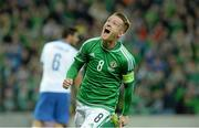 8 October 2015; Steve Davis, Northern Ireland, celebrates after scoring his side's third goal. UEFA EURO 2016 Championship Qualifier, Group F, Northern Ireland v Greece. Windsor Park, Belfast. Picture credit: Oliver McVeigh / SPORTSFILE