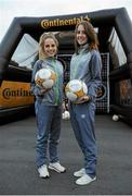 8 October 2015; Pictured at the Continental Tyres fanzone area at the Aviva Satdium were Continental Tyres Women's National League and Irish women's national team players, Karen Duggan and Julie-Ann Russell ahead of the crucial Republic of Ireland v Germany UEFA qualification game. The players along with their UCD Waves teammates Niamh Walsh and Ciara Grant, challenged fans going into the match to a penalty shoot competition in association with Continental Tyres - proud supporters of Irish womens football and official partner of the FAI. For more infortmation on Continental Tyres visit www.continental-tyres.co.uk. Aviva Stadium, Lansdowne Road, Dublin. Picture credit: Seb Daly / SPORTSFILE