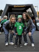 8 October 2015; Pictured at the Continental Tyres fanzone area at the Aviva Satdium were Continental Tyres Women's National League and Irish women's national team players, Karen Duggan and Julie-Ann Russell ahead of the crucial Republic of Ireland v Germany UEFA qualification game. The players along with their UCD Waves teammates Niamh Walsh and Ciara Grant, challenged fans going into the match to a penalty shoot competition in association with Continental Tyres - proud supporters of Irish womens football and official partner of the FAI. Pictured is Julie-Ann Russell, Cian Manning, Goatstown, Dublin, and Karen Duggan. For more infortmation on Continental Tyres visit www.continental-tyres.co.uk. Aviva Stadium, Lansdowne Road, Dublin. Picture credit: Seb Daly / SPORTSFILE