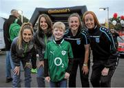 8 October 2015; Pictured at the Continental Tyres fanzone area at the Aviva Satdium were Continental Tyres Women's National League and Irish women's national team players, Karen Duggan and Julie-Ann Russell ahead of the crucial Republic of Ireland v Germany UEFA qualification game. The players along with their UCD Waves teammates Niamh Walsh and Ciara Grant, challenged fans going into the match to a penalty shoot competition in association with Continental Tyres - proud supporters of Irish womens football and official partner of the FAI. Pictured are, from left, Julie-Ann Russell, Karen Duggan, Shay Rabbitt, Galway, Ciara Grant and Niamh Walsh. For more infortmation on Continental Tyres visit www.continental-tyres.co.uk. Aviva Stadium, Lansdowne Road, Dublin. Picture credit: Seb Daly / SPORTSFILE
