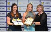 1 June 2016; Megan Glynn, Galway, centre, receives her Division 1 Lidl Ladies Team of the League Award from Aoife Clarke, head of communications, Lidl Ireland, left, and Marie Hickey, President of Ladies Gaelic Football, right, at the Lidl Ladies Teams of the League Award Night. The Lidl Teams of the League were presented at Croke Park with 60 players recognised for their performances throughout the 2016 Lidl National Football League Campaign. The 4 teams were selected by opposition managers who selected the best players in their position with the players receiving the most votes being selected in their position. Croke Park, Dublin. Photo by Cody Glenn/Sportsfile