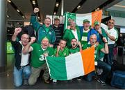 9 October 2015; Republic of Ireland supporters pose for a photograph before departing for Warsaw, Poland, ahead of the Republic of Ireland's UEFA 2016 Championship, Group D, Qualifier against Poland on Sunday. Republic of Ireland Supporters Depart for Poland. Dublin Airport, Dublin. Picture credit: David Maher / SPORTSFILE