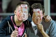 9 October 2015; Wexford Youths supporters wearing Dermot Keely masks. SSE Airtricity League Premier Division, Wexford Youths FC v Shelbourne. Ferrycarrig Park, Wexford. Picture credit: Matt Browne / SPORTSFILE