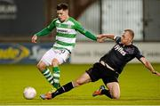 9 October 2015; Brandon Miele, Shamrock Rovers, in action against Chris Shields, Dundalk. SSE Airtricity League, Premier Division, Shamrock Rovers v Dundalk. Tallaght Stadium, Tallaght, Co. Dublin. Picture credit: Seb Daly / SPORTSFILE