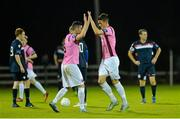 9 October 2015; Wexford Youths FC goal scorer Ryan Delaney, right, is congratulated by team-mate Willie Tyrrell after scoring their first goal. SSE Airtricity League Premier Division, Wexford Youths FC v Shelbourne. Ferrycarrig Park, Wexford. Picture credit: Matt Browne / SPORTSFILE