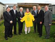 25 May 2009; At today's launch of 'An Evening with Pele' fundraiser for Our Lady's Children's Hospital, Crumlin and the Little Prince Children's Hospital, Curitiba, Brazil, are from left to right, Don Mullan, European ambassador for the Little Prince Children's Hospital, FAI Chief Executive John Delaney, Republic of Ireland manager Giovanni Trapattoni, Jessica Campbell, from Co. Wicklow, David Doran, Chief Executive of The Children's Medical & Research Foundation, Eamonn Coghlan, and Professor Owen Smith of Our Lady's Children's Hospital. Children's Medical and Research Foundation, Drimnagh Road, Crumlin, Dublin. Picture credit: Diarmuid Greene / SPORTSFILE