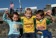 11 October 2015; Corofin Fans, from left, Ava Connolly, 3, Ois'n Kelly, 7, and Ryan Connolly, 6, from Belclare, Galway. Galway County Senior Football Championship Final, Mountbellew/Moylough v Corofin. Tuam Stadium, Tuam, Co. Galway. Picture credit: Sam Barnes / SPORTSFILE