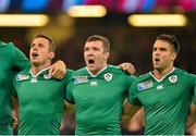 11 October 2015; Ireland's, from left, Tommy Bowe, Peter O'Mahony and Conor Murray during Ireland's Call. 2015 Rugby World Cup Pool D, Ireland v France. Millennium Stadium, Cardiff, Wales. Picture credit: Brendan Moran / SPORTSFILE