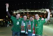 11 October 2015;  Republic of Ireland supporters, from left, Diarmuid Hayes, PJ Brady, Martin Brady and Simon Spellman, all from Castlebar, Co. Mayo, cheer on their team. UEFA EURO 2016 Championship Qualifier, Group D, Poland v Republic of Ireland. Stadion Narodowy, Warsaw, Poland. Picture credit: David Maher / SPORTSFILE