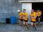11 October 2015; Clonlara players make their way to the pitch for the second half from the temporary dressing rooms in Cusack Park. Clare County Senior Hurling Championship Final, Clonlara v Sixmilebridge. Cusack Park, Ennis, Co. Clare. Picture credit: Piaras Ó Mídheach / SPORTSFILE