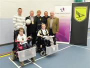 30 May 2009; Sporting Fingal and Fingal County Council announce the launch of the Sporting Fingal Power Soccer Team. Part of the FAI Football For All development campaign, Power Soccer is open to all anyone with an electrically powered wheelchair of all ages, both men and women. The FAI, through the local sports partnerships, are taking registrations with a view to setting up Provincial and National competitions. Details are available from the Association of Irish Power Chair Football at padjoeflanagan@hotmail.com or Stephen McGinn of Sporting Fingal and Fingal County Council at stephen.mcginn@fingalcoco.ie. At the launch, from left, Stephen McGinn, Sports Development officer, Fingal County Council, Cllr Michael O'Donovan, Mayor of Fingal, Liam Buckley, Manager, Sporting Fingal, Gary O'Neill, Sporting Fingal and David O'Connor, Fingal County Manager with Sporting Fingal Powerchair players Abbie Byrne, left, and Kevin Gannon. Corduff Sports Centre, Blanchardstown, Dublin. Picture credit: Brendan Moran / SPORTSFILE