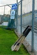 11 October 2015; A general view of spare hurleys on the sideline as the main stand is under construction. Clare County Senior Hurling Championship Final, Clonlara v Sixmilebridge. Cusack Park, Ennis, Co. Clare. Picture credit: Piaras Ó Mídheach / SPORTSFILE