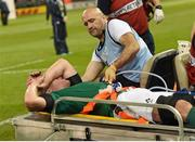 11 October 2015; Paul O'Connell, Ireland, leaves the pitch with Dr Eanna Falvey, Ireland team doctor, after picking up an injury. 2015 Rugby World Cup Pool D, Ireland v France. Millennium Stadium, Cardiff, Wales. Picture credit: Stephen McCarthy / SPORTSFILE