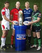 21 August 2012; In attendance at the launch of the Celtic League, rugby's premier professional club competition in Ireland, Italy, Scotland and Wales, are, from left, Ulster's Johann Muller, Munster's Paul O'Connell, Leinster's Leo Cullen and Connacht's Gavin Duffy. Celtic League Season 2012/13 Launch, Riverside Museum, Glasgow, Scotland. Picture credit: Jeff Holmes / SPORTSFILE